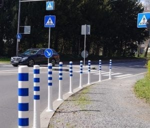 Safety Bollards on road